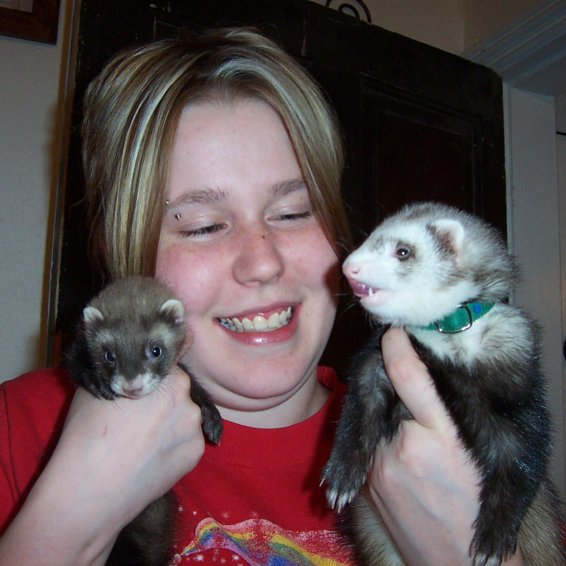 Me super pleased having my Binx and a new baby ferret